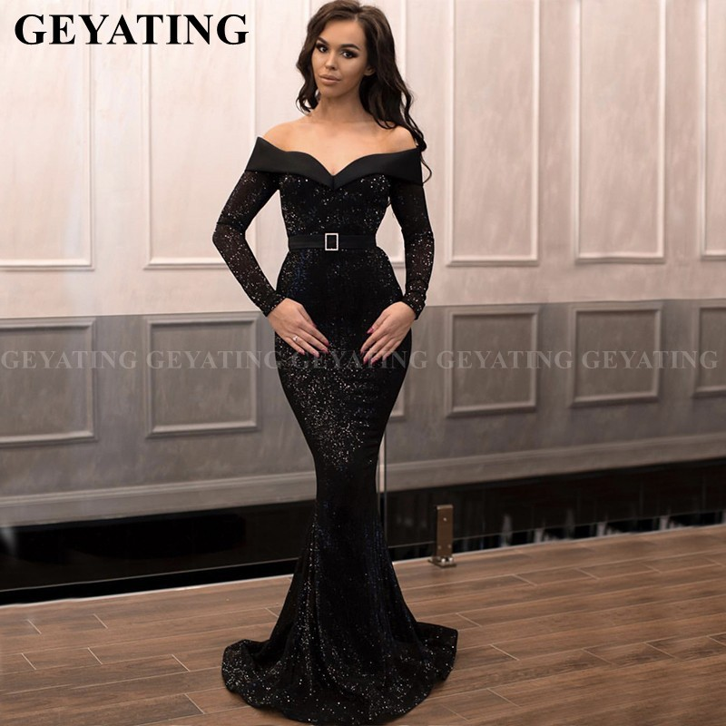 Sparkle Black Sequined Mermaid African Prom Dresses Long Sleeves Plus Size Off The Shoulder Graduation Dress Long Evening Gowns
