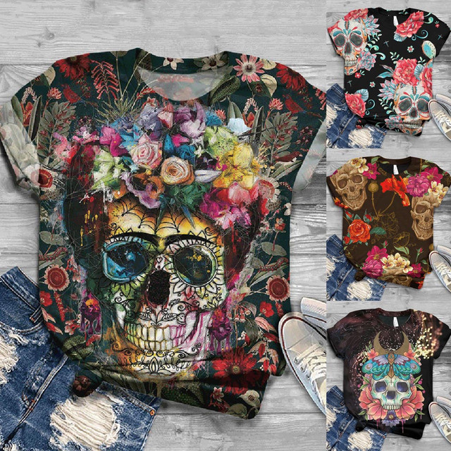 3D SKULL THEMED T-SHIRT (4 VARIAN)