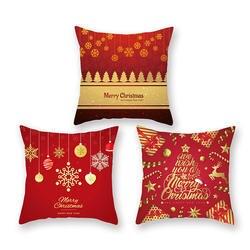 Наволочка для подушки с принтом, красная, с рождеством, для украшения дома, комнаты, декоративные подушки, диванная наволочка для домашнего