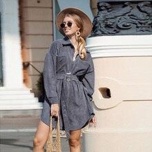 Women Vintage Sashes Front Button Velvet Dress Long Sleeve Turn Down Collar Soli