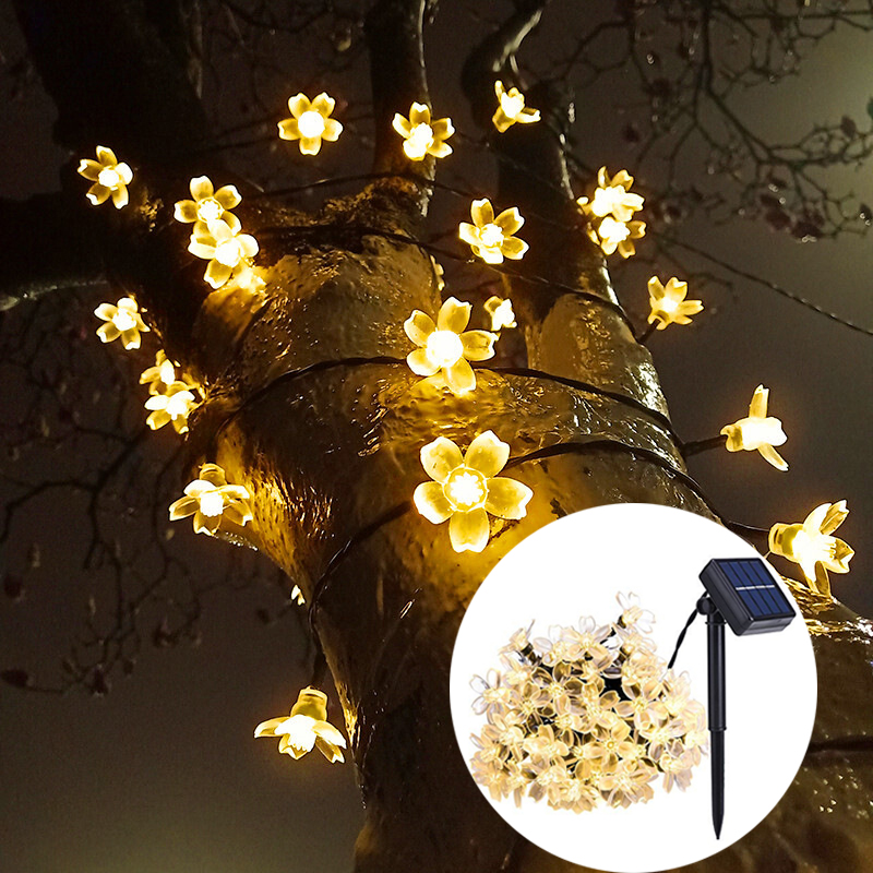 Lawn Lights LED Patio Garland Lighting String Cherry Blossom Waterproof Light Indoor Outdoor Garden Holiday Decor LED Solar Lamp