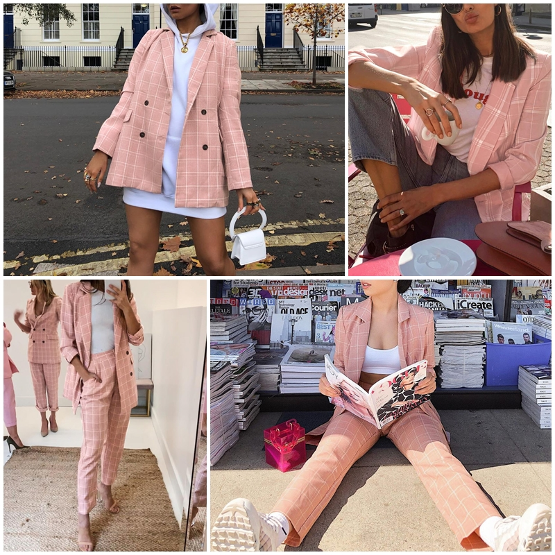H61f5a283358f40018ce623883ee66c4f3 - Simplee Fashion plaid women blazer suits Long sleeve double breasted blazer pants set Pink office ladies two-piece blazer sets