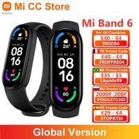 Xiaomi-pulsera inteligente Mi Band 6 versión Global, Monitor de ritmo cardíaco y oxígeno en sangre, pantalla de 1,56