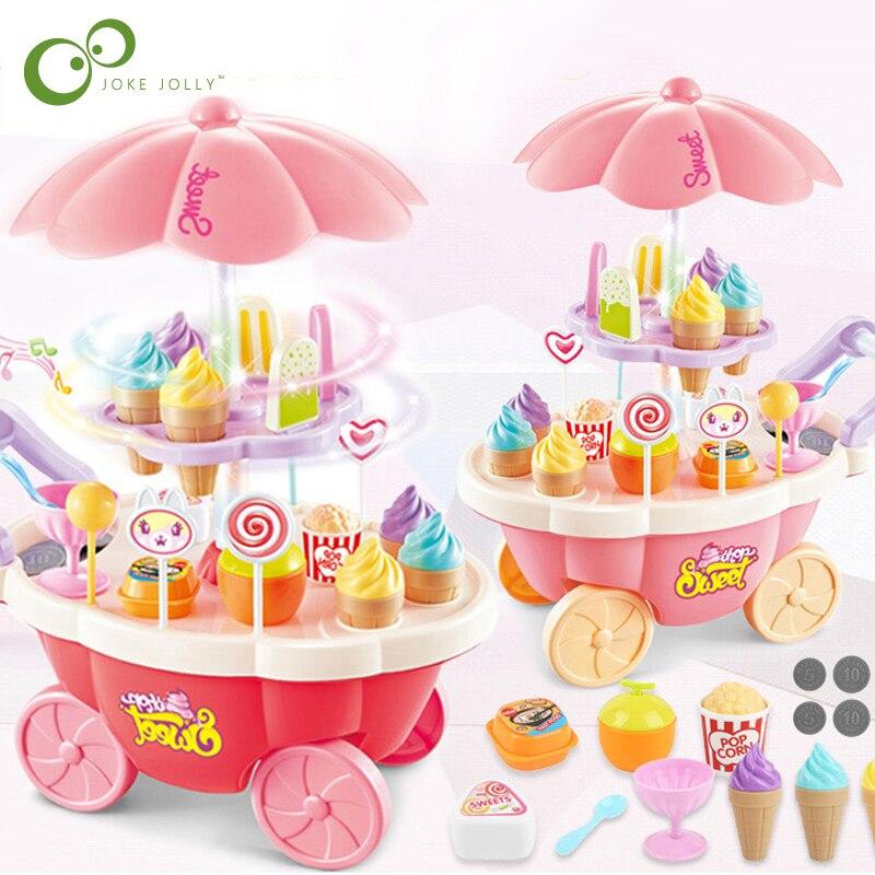 Enfants semblant jouer jouets Simulation bonbons musique crème glacée Mini Push voiture jouet éducation précoce jouets pour enfants fille cadeaux GYH