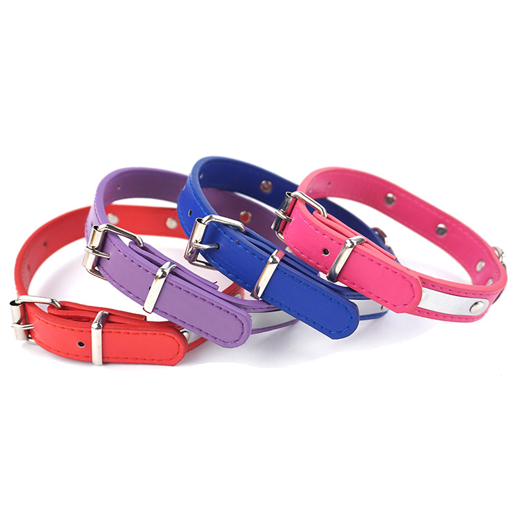 Pet Supplies Dog Pu Algam Collar Imitation Leather Bull Starling Pet Golden Retriever Dog Collar