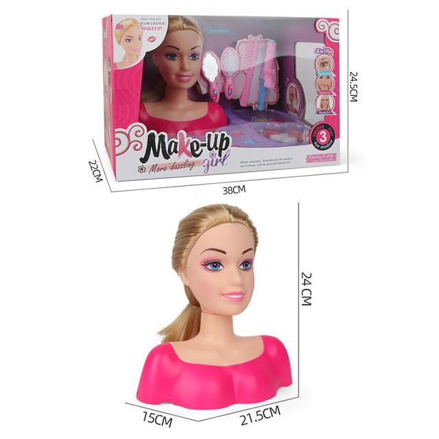 New Fashion Princess Styling Head Doll Toy With Hair Clip Brush Beauty Makeup Accessories Pretend Play Toys For Girls 6