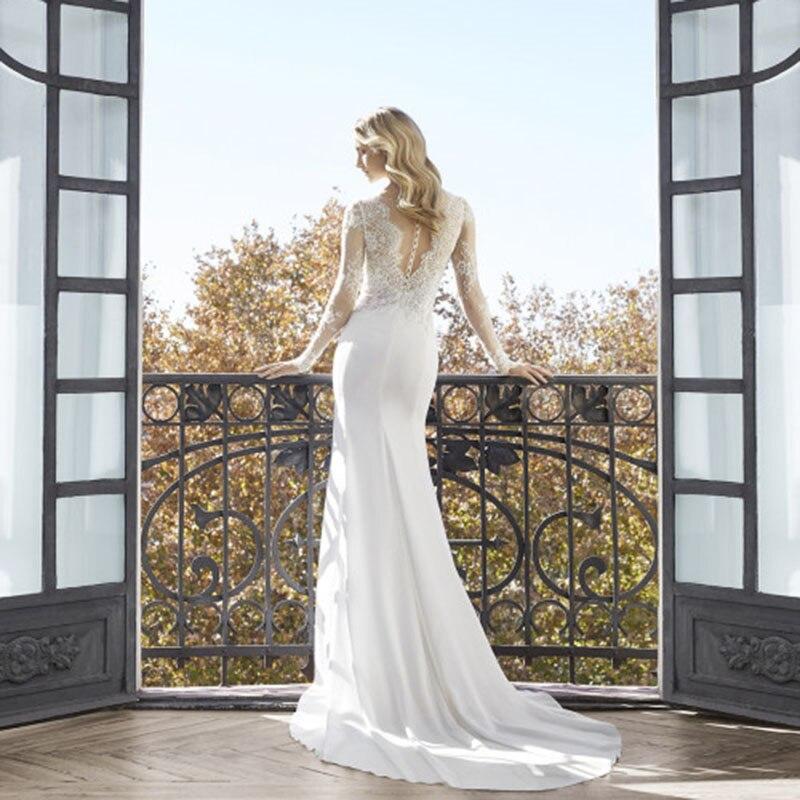 Image 5 - Classic High Slits Wedding Dresses V neck Long Sleeve Lace Appliqued Bridal Gowns Plus Size Dubai Arabic Boho Dubai Wedding Gown-in Wedding Dresses from Weddings & Events