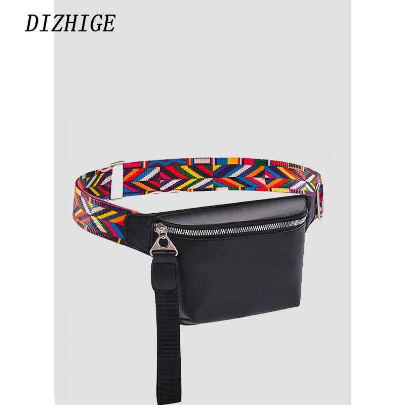 Womens Waist Bag PU Leather Waist Bag Fashion Bohemian Belt Bag Female Casual Phone Bag Black Pech