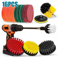 16x Attachment Tools Pad Sponge Power Scrubber Drill Brushes Set Extension Long