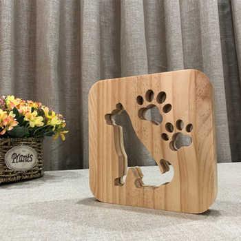 3D Wooden Dog Paw Cat Animal Night Light Bedroom Bulldog Luminaria Lamp USB Desk Lights For Baby For Christmas New Year Gift