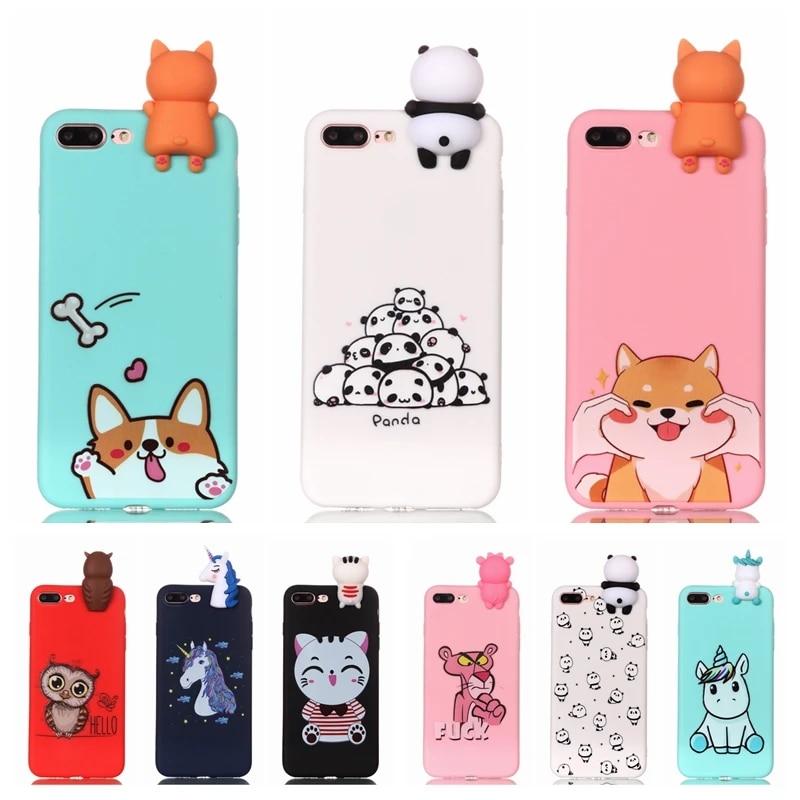 Coque pour iPhone 7 7Plus Étui 3D Licorne Panda Chien Étui En Silicone Couverture pour iPhone 5 5S SE 6S 8 Plus X XS 11 Pro Max Étui de Téléphone