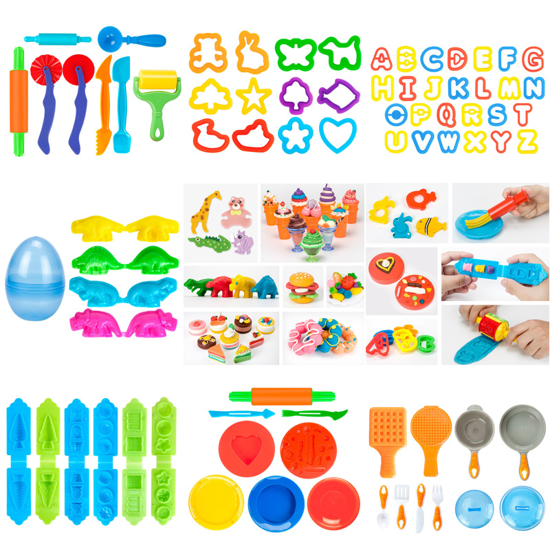 New Educational Plasticine Mold Modeling Clay Kit Slime Toys For Child Plastic Play Dough Tools Sets DIY Kid Cutters Moulds Toys