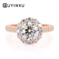 GUYINKU Flower Shape Halo Engagement Ring 14k Rose Gold Center Round Cut 1ct 6.5mm EF Color Moissanite Fine Jewelry For Women