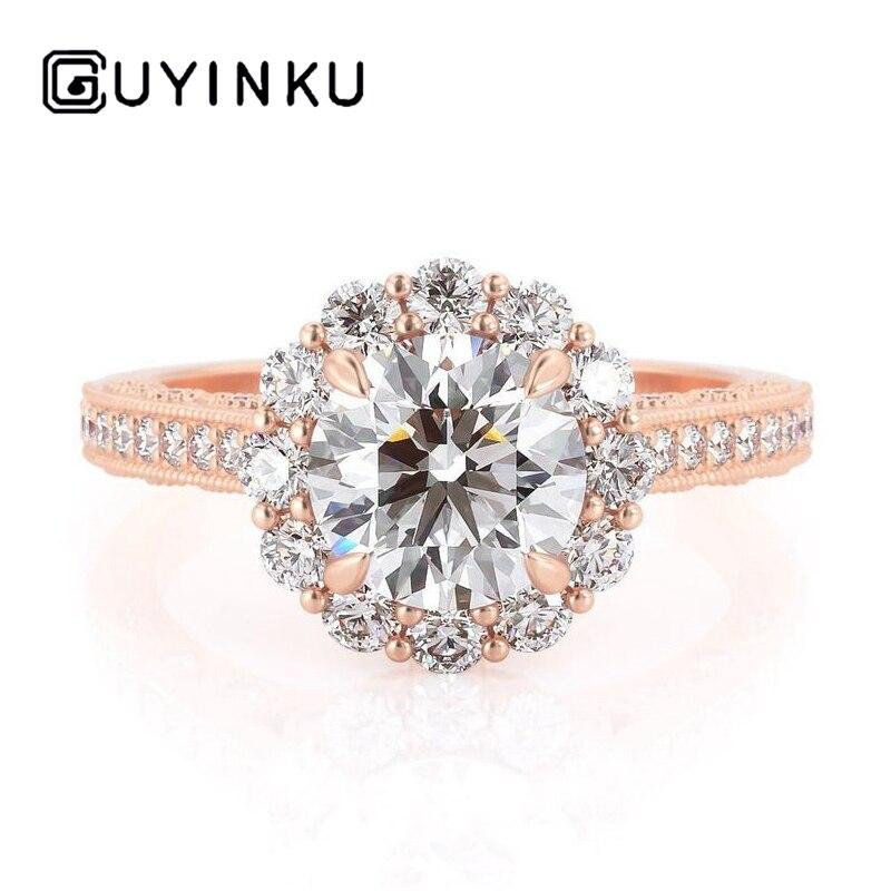 GUYINKU fleur forme Halo bague de fiançailles 14k or Rose Center coupe ronde 1ct 6.5mm EF couleur Moissanite bijoux fins pour femmes