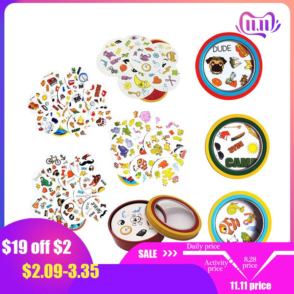 Spot Symbol Cards Game настольные игры English Version Education Toys With Metal Box For Family Activities Party Enjoy It Game