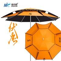 2 Meters Double Layer Fishing Umbrella Orange Rainproof Thicken Sunscreen UV Protection Fishing Parasol Ultralight