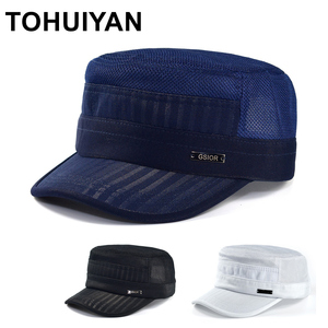 TOHUIYAN Street Fashion Military Hat For Men Summer Autumn Breathable Mesh Army Cap Women Casual Flat Top Caps Solid Cadet Hats