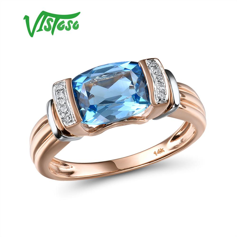 VISTOSO Gold Rings For Women Genuine 14K 585 Two Tone Gold Rings Sparkling Diamond Blue Topaz Wedding Anniversary Fine Jewelry