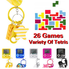 Mini Game Console Mini Game Tetris Machine 26 in 1 Child Portable Puzzle Game Toy Game Keychain Black Yellow Blue white red Y10(China)