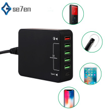 USB Charger, 60W QC 3.0 Type C Desktop Charger : 6-Port Charging Station, Hub, Multiple for Smartphone