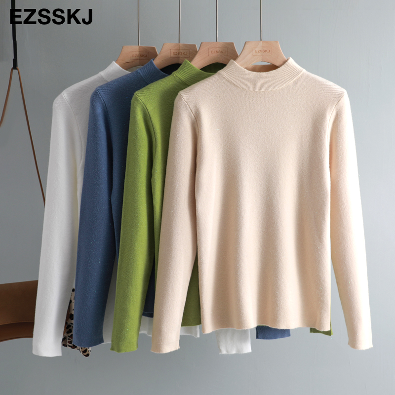 Casual Highneck Basic Autumn Winter Cashmere Sweater Women Solid Knit Sweater Pullovers Long Sleeve Soft Female Jumper Top