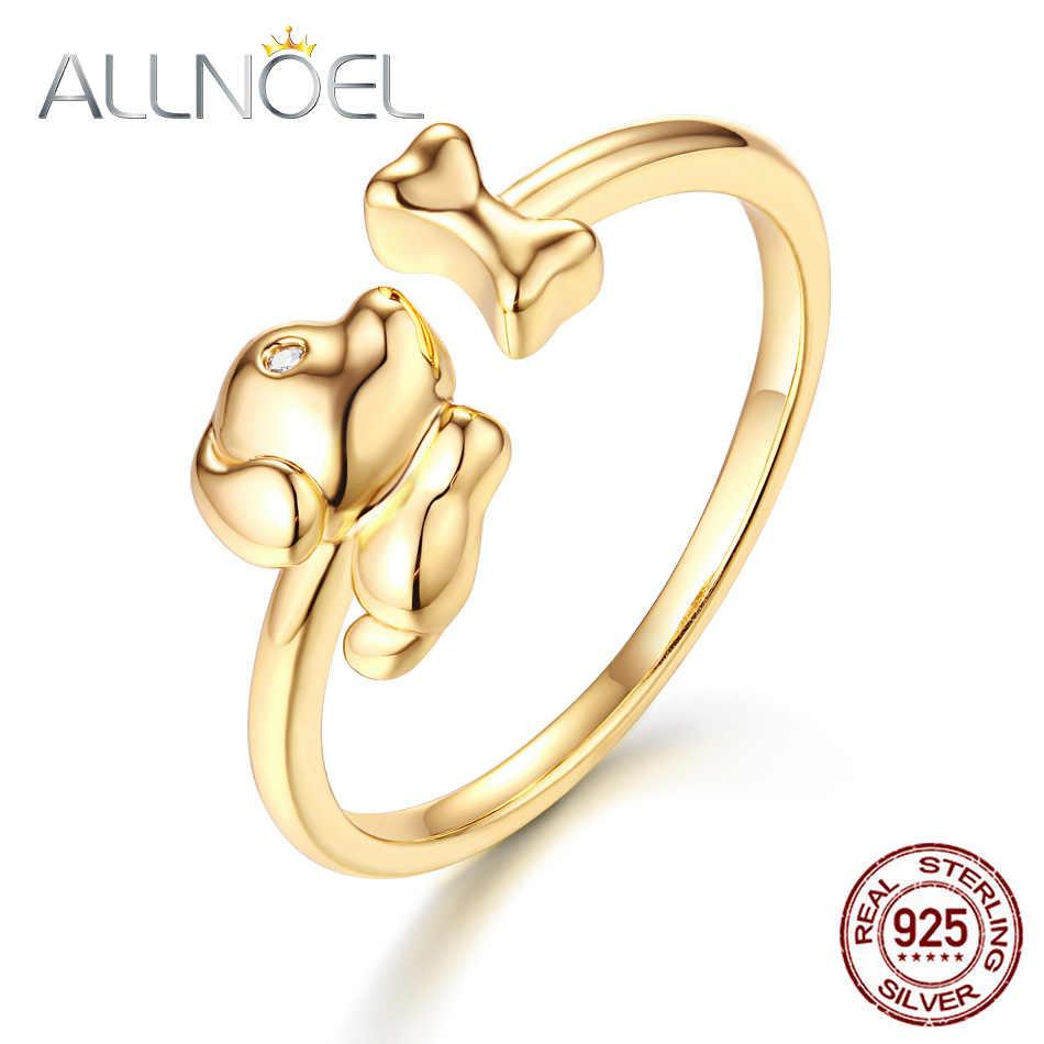 ALLNOEL réel Zircon anneau pour femmes En acier inoxydable Design ouvert Bijoux En Argent mignon chien os pierres précieuses Bijoux cadeau de mariage