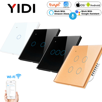 1 2 3 4 Gang WiFi Smart Light Touch Switch Remote APP Control AC 85v 220v EU UK Standard Wireless Smart Home 1 2 3 Way Switch saful wireless switch control more receiver 2 gang 2 way switch 150m remote tempered glass panels led home wall touch switch