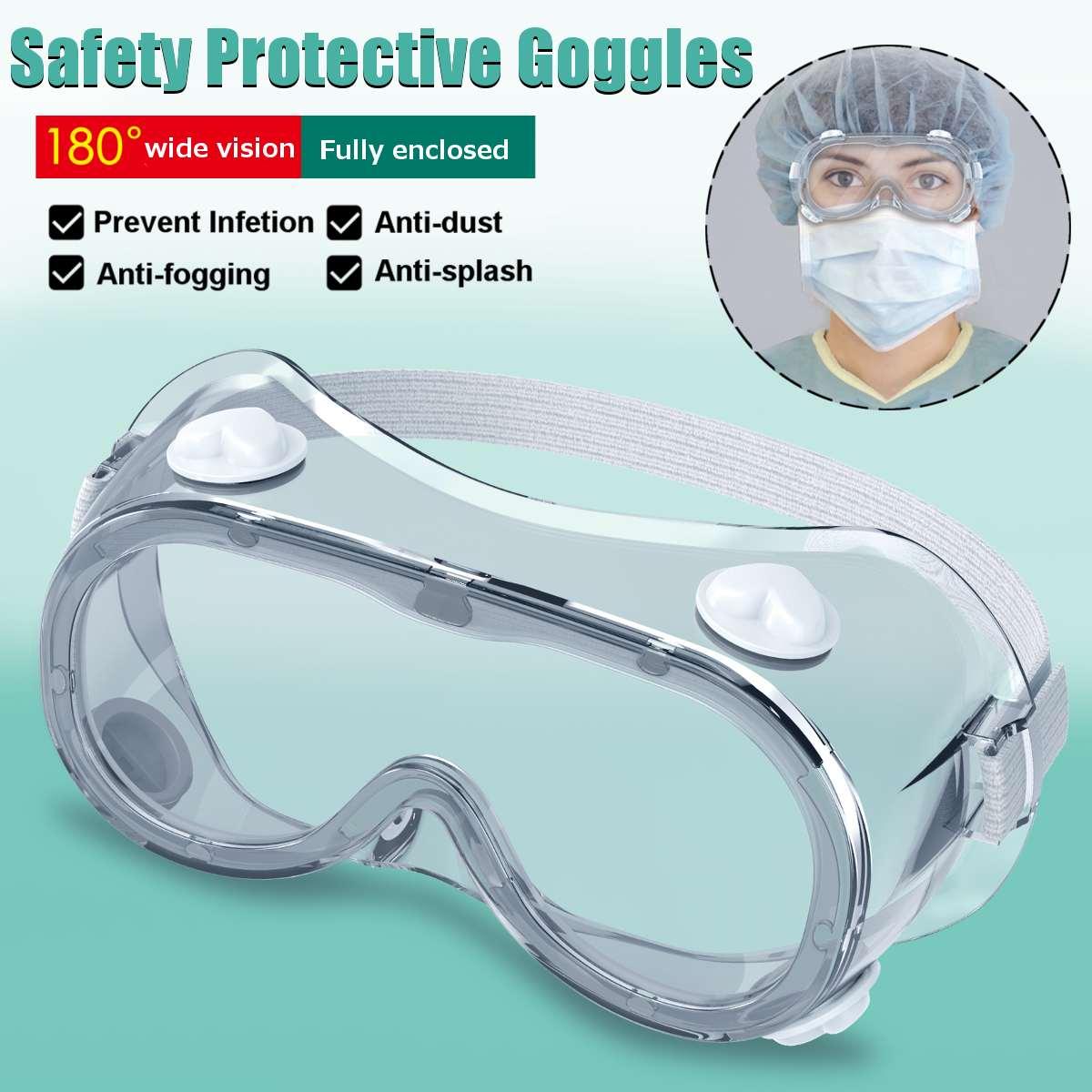 Gafas protectoras de seguridad de 2 tipos, gafas de visión amplia, respirador indirecto desechable, para prevenir infecciones, antisalpicaduras, antiniebla