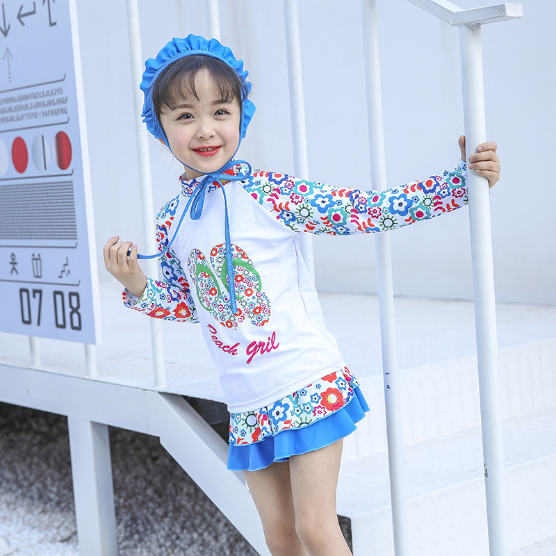 2018 New Style Hot Sales Split Type Two-Piece Bathing Suit Hipster Princess-Style Send Swimming Cap Short Skirt Girls KID'S Swim