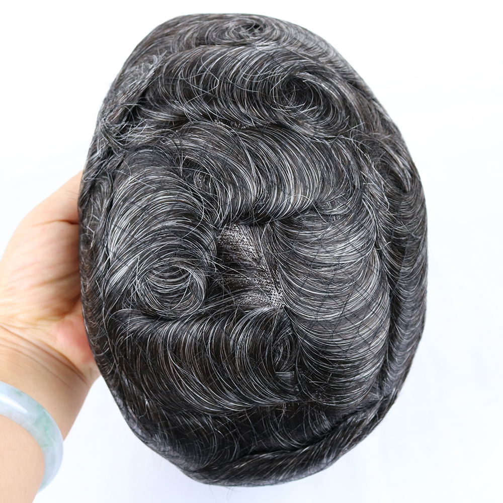 Eversilky Natural Black Mens Toupee Human Hair Hairpiece French Lace 1.5 Inches Wide Pu Around In Stock Wig Men