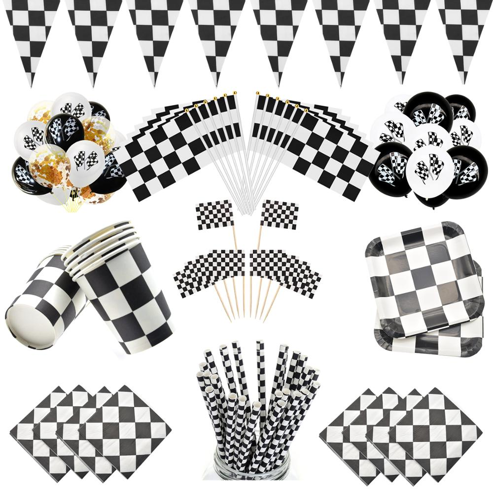 Black White Racing Car Party Deco Servies Chess Disposable tableware Set Checkered Flag Party Supplies Baby Shower Deco for Kids