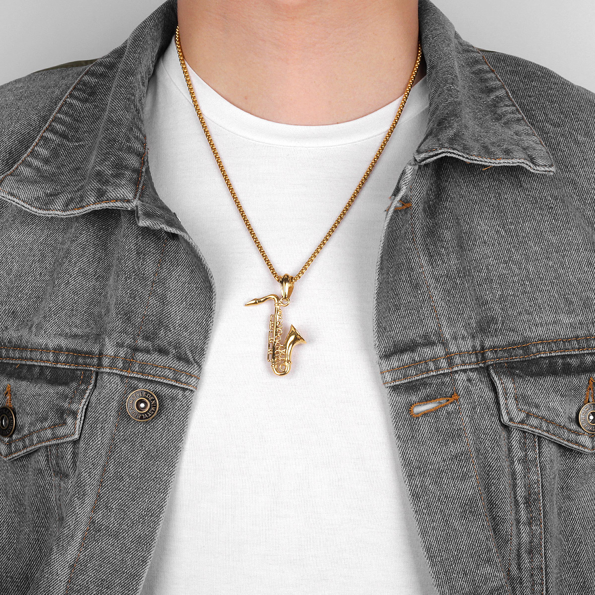 Gold Saxophone Necklaces Pendant Chain Stainless Steel Music Jewelry