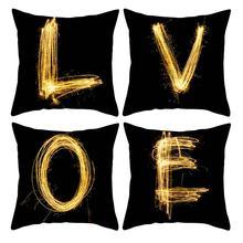 45cm x Golden English Letter Cushion Cover Soft Throw Pillowcase Home Car Decor Washable