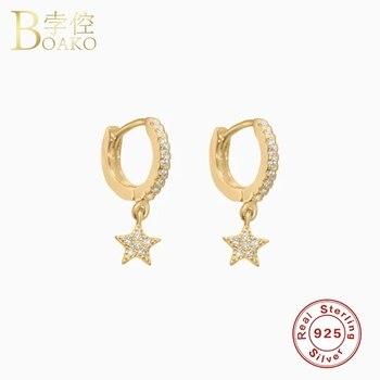 Real 925 Silver Earrings For Women Gold Star Earrings Girl Gift Piercing Earring Punk Female Crystal Zircon Hoop aretes K5 real 100% 925 sterling silver rainbow moon star hoop earrings for women crystal zircon chain earring gold silver ear jewelry a30