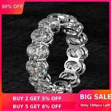 Женское кольцо из серебра 100% пробы, с муассанитом