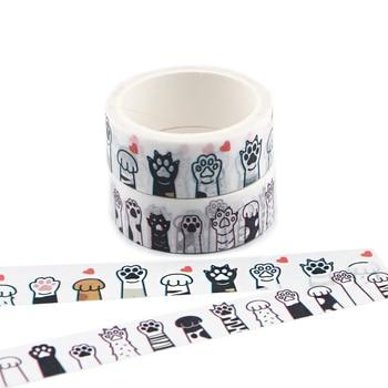 цена на Ransitute R835 Cat Footprints Dog Footprints Cute Cartoon Washi Tape DIY Scrapbooking Label Masking Tape Gift