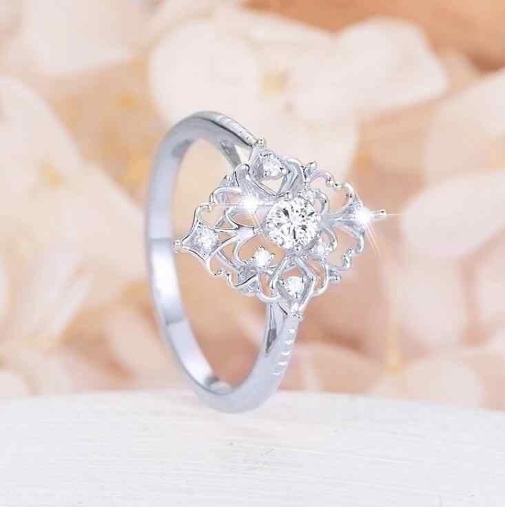 Retro ผู้หญิงแหวนสไตล์บาร็อคหรูหรา Rose Rose ดอกไม้รูปร่างแหวน Statement เครื่องประดับอัญมณี Vintage Diamante อุปกรณ์เสริม