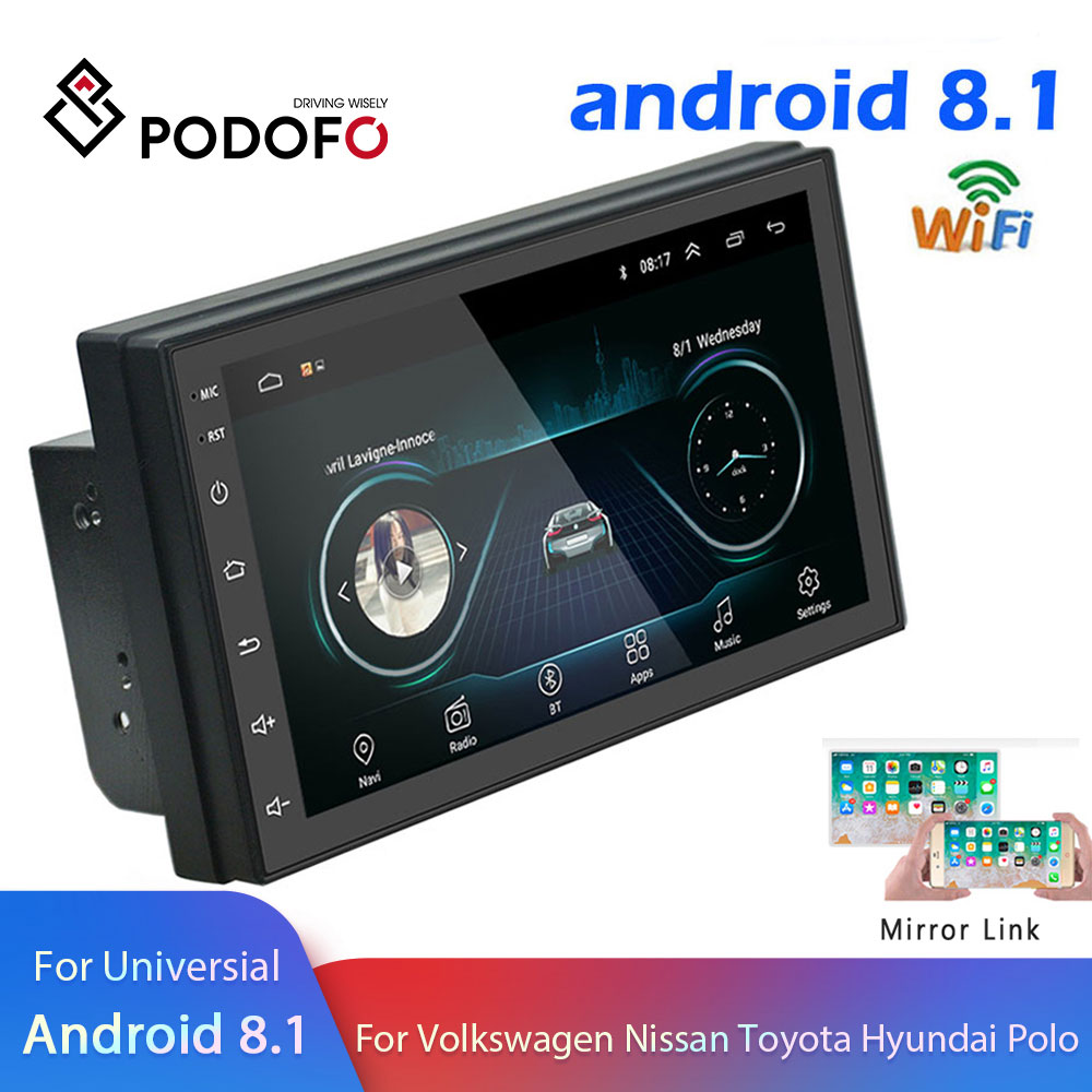 Podofo GPS Navigation Video-Player Multimedia Car-Radio Audio USB Stereo Bluetooth Wifi