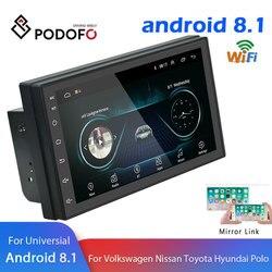 Podofo Android 2 Din Auto radio Multimedia Video Player di Navigazione GPS 2 din 7 HD auto Universale Audio Stereo wiFI Bluetooth USB