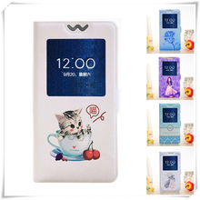 Open View Window Case for Doogee Homtom HT7 HT16 HT17 HT26 HT27 HT37 HT50 PU Leather Cartoon Painting Flip Cover Magnetic