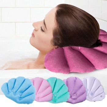 מתנפח טרי בד פרימיום ספא אמבטיה כרית עם יניקה כוסות מאוורר בצורת צוואר תמיכת כרית כתף צוואר תמיכה ייבוש