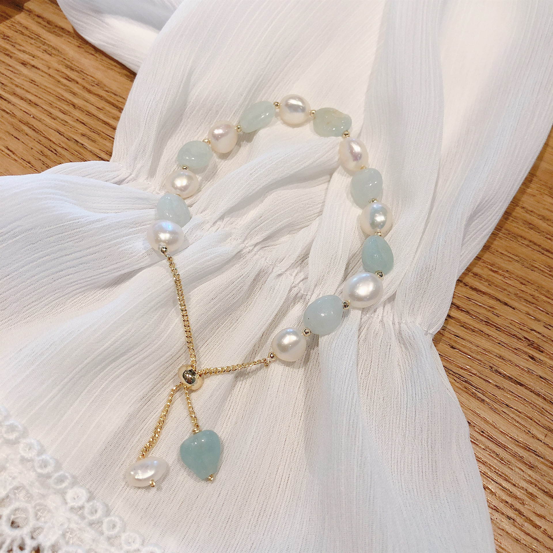 Genuine Natural Freshwater Pearl Bracelets For Women with Green Onyx Bead Adjustable Bangles Jewelry Gift