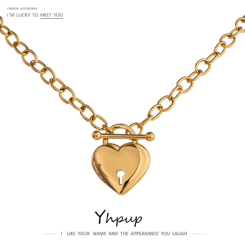 Yhpup Romantic Heart Lock Pendant Stainless Steel Necklace for Women Temperament Metal Texture 18 K Plated Choker Necklace 2021