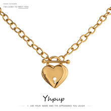 Necklace Pendant Heart-Lock Romantic Stainless-Steel Plated Metal Yhpup 18-K Women