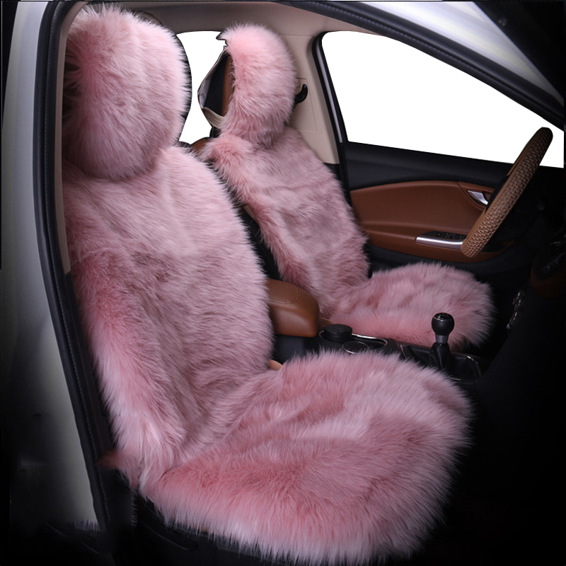 Car Seat Cover Winter Plush Fur Car Seat Protector Auto seat covers Car Seat Covers Fits Most Car, Truck, SUV, or Van (Pink)
