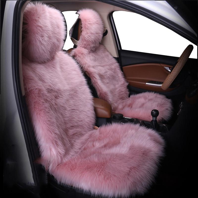 Car Seat Cover Winter Plush Fur Car Seat Protector Auto seat covers Car Seat Covers Fits Most Car, Truck, SUV, or Van (Pink)