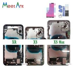 עבור iphone X XS XR/XS מקס חזור התיכונה שלדה מלא אסיפת שיכון סוללה כיסוי דלת אחורי עם להגמיש כבלים ויברטור