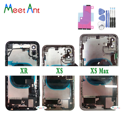 Untuk iPhone X XS XR/XS Max Kembali Tengah Bingkai Chassis Penuh Housing Perakitan Penutup Pintu Belakang dengan kabel Fleksibel dan Vibrator