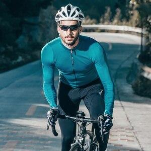 Image 1 - Santic mężczyźni jazda na rowerze Jersey długie rękawy Fit wygodne słońce ochronne szosowe topy koszulki MTB Jersey rozmiar azjatycki WM8C01100