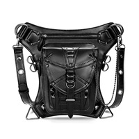 Steampunk Waist Bag Women Retro PU Leather Rivets Leg Bag Gothic Style Waist Pack Male Messenger Shoulder Bag Unisex Fanny Pack